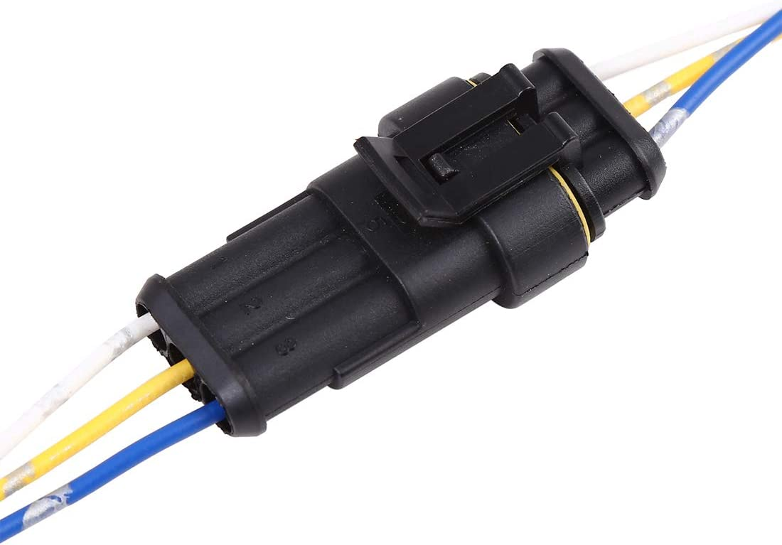uxcell 2pcs DC12V Electrical 3-Wires Connector Waterproof Male Female for Car
