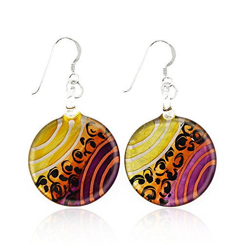 Sterling Silver Hand Painted Murano Glass Gold Purple Orange Round Dangle Hook Earrings 1.8""