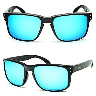 B.N.U.S Retro sunglasses for men women fashion blue mirrored lenses (Frame: Black, Blue Flash)