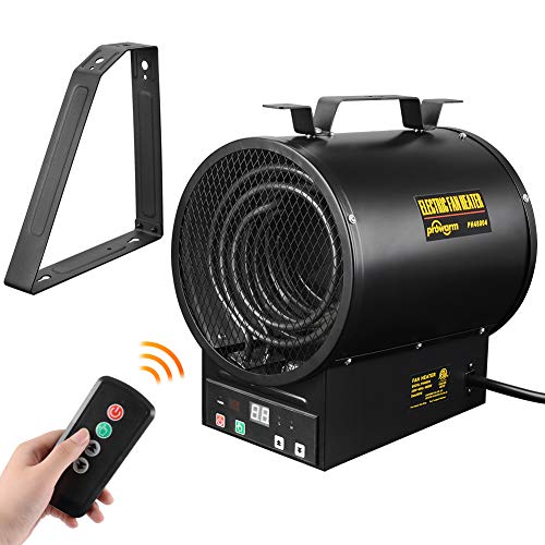 PROWARM Electrical Forced Air Industrial Fan Heater Shop Garage Heater with Over-Heat Protection Remote Control and Bracket 240V,2400W/4800W