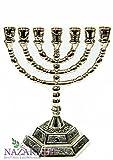 Brass Silver Jerusalem Temple Menora 7 Branches Menorah Made in Israel 6.3''