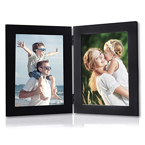 Foldable Frame (WOLTU Hinged Foldable Picture Frame Desktop Black Photo Frame with Glass Front, 2 Openings, 4x6