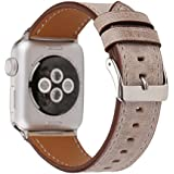 Watch-Wrist for Apple Watch-Band, Fresh Style Replacement Wrist Strap for Apple iWatch Series 3 2 1 Designer Leather Bracelet with Connector fits 38/42mm (Light Brown, 38)