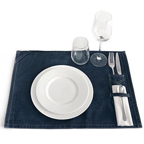 B&C Denim Surface Plate Mat / Placemat (One Size) (Deep Blue Denim)