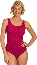 f435cc3a2d Krinkle Plus Size Shirred One Piece Chlorine Resistant Swimsuit Berry 18W  Pink