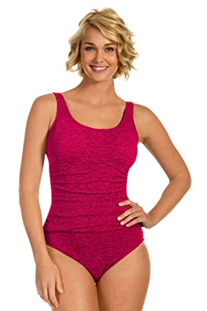 4fb2c810db3 Image Unavailable. Image not available for. Color: Krinkle Plus Size  Shirred One Piece Chlorine Resistant ...