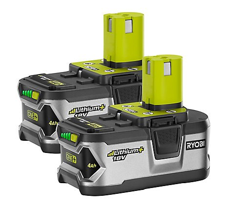 Ryobi P122 4AH One+ High Capacity Lithium Ion Batteries For Ryobi Power Tools (2 Pack of P108 Batteries) by Ryobi