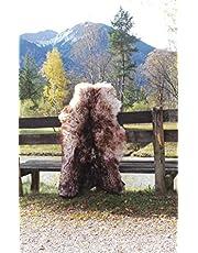 Felltrade Merino schapenvacht lamsvacht echt groot 120-130 cm wit-bruin gevlamd ecologisch gelooid