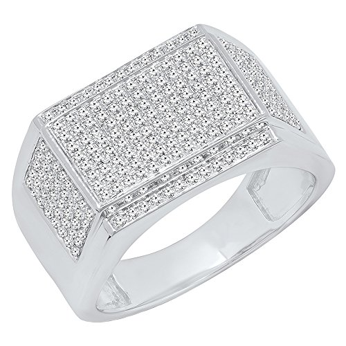 0.90 Carat (Ctw) 10K White Gold Round White Diamond Men's Flashy Hip Hop Pinky Ring (Size 10) by DazzlingRock Collection