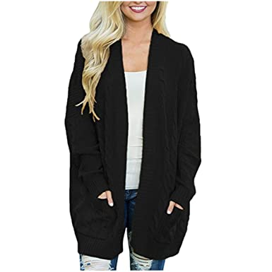 ZOMUSAR 2018 Womens Cardigan Sweaters Oversized Knit Open Front Chunky  Boyfriend Cardigans Coats with Pockets Black 70e01cbfe