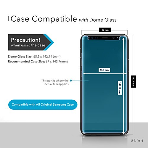 Dome Glass Galaxy S9 Screen Protector Tempered Glass Shield, Full Screen Coverage 3D Curved [Liquid Dispersion Tech] Easy Install Tray and UV Light by Whitestone for Samsung Galaxy S9 (2018)