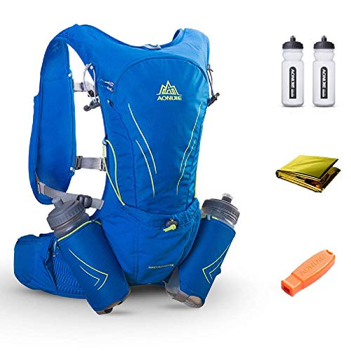 15L Ultra Lightweight Running Vest Marathon Backpack Hydration Pack With 2 Pcs 600 ML Water Bottle - Adjustable Padded Shoulder, Chest & Waist Straps - Reflective Design - Daypack Cycling & Hiking