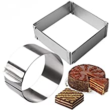 SuperStores 2pcs/set Stainless Steel Adjustable Cake Mousse Ring 3D Round & Square Cake Mold Cake Decorating Baking Tools