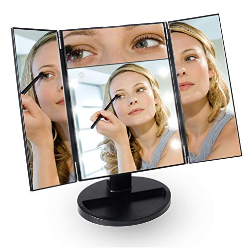 CESHUMD Vanity Makeup Mirror with 8 Led Lights Portable Lighted Makeup Mirror, 5X Vanity Mirror, 180°Rotation, Touch Screen, Tri-fold & Four Sides Cosmetic Mirror for Travel (5X Makeup Mirror)