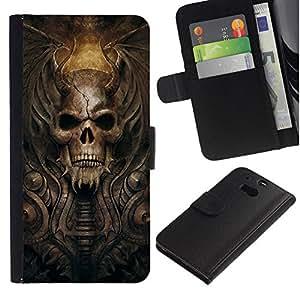 NEECELL GIFT forCITY // Billetera de cuero Caso Cubierta de protección Carcasa / Leather Wallet Case for HTC One M8 // Gótico del cráneo del demonio