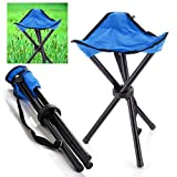 CTKcom Portable Folding Tripod Stool,Camping Folding Stool,Foldable tripod Camp Chair Lightweight For Camping Hiking Fishing Travel Picnic Beach BBQ with Strap Oxford Cloth Outdoor Stool (Blue)