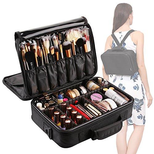 VASKER Large Makeup Case 3 Layers Makeup Bag Organizer Waterproof Professional Travel Cosmetic Case Portable Train Cases Brush Holder with Adjustable Divider Black
