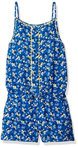 Scout + Ro Big Girls' Romper Scallop Detail, Strong Blue, 7 by Scout + Ro