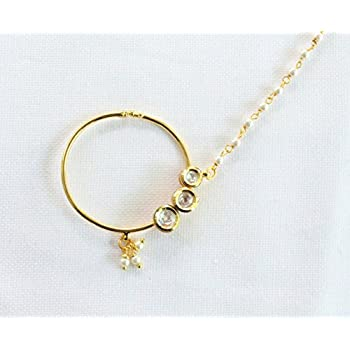 a3ab711c93d Amazon.com: Bridal Kundan Nose Ring Chain/Wedding Indian Bridal Nose ...