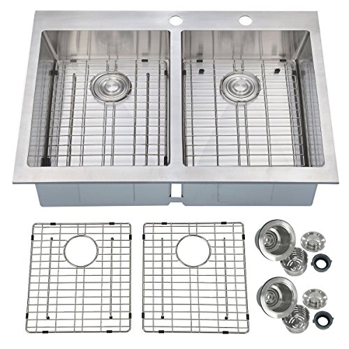 PRIMART Handcrafted 33 Inches Topmount Double Equal Bowl 16 Gauge Stainless Steel Kitchen Sink with Grids