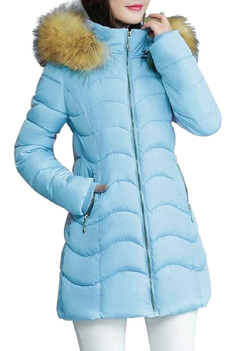 bluee LEISHOP Womens Winter Warm Faux Fur Hoodie Down Puffer Jackets Coats