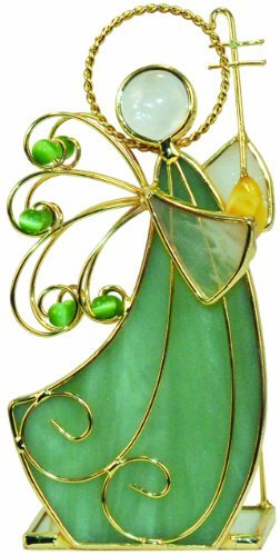 CMC Stained Glass Votive Holder Angel With Lute