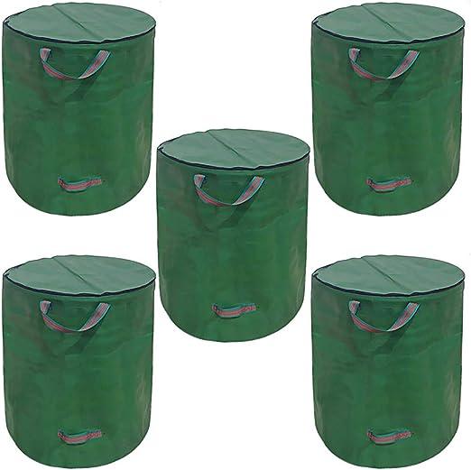 Bryantxx - Saco de Basura Plegable para jardín con Tapa y Cierre de Cremallera, Resistente al Agua, 272 L, para desechos de jardín, tamaño Grande, autoajustable (1 x 272 litros): Amazon.es: Jardín