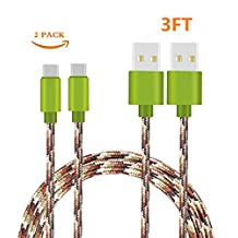USB Type C Cable, Binguowang Nylon Braided USB Type C Long Cord Fast Charging Sync Cable for Samsung Galaxy Note 8, S8, S8 Plus,Google Pixel,Nexus 6P/5X,LG G5/G6 and More. (2 Pack 3FT Camo)