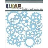 Clear Scraps CSSM6-GRS Translucent Plastic Film Stencil, Gears, 6-Inch x 6-Inch