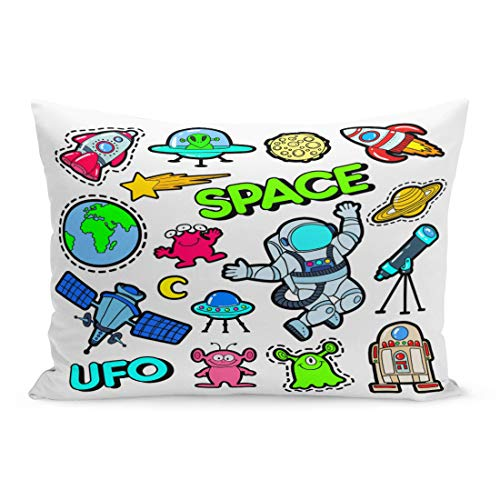 (Emvency Throw Pillow Covers Patch Badges Space UFO Robots and Funny Aliens Pillow Case Cushion Cover Lumbar Pillowcase Decoration for Couch Sofa Bedding Car Home Decor 20 x 26 inchs)