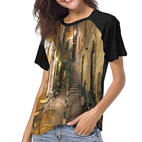 Female Baseball Short Sleeve,Italian,Old Cafe in Rome City S-XXL T-Shirt Casual Blouse -