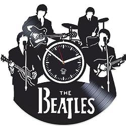 Kovides The Beatles, Rock Music Band, Vinyl Wall Clock Handmade Home Decor, Best Gift for Fans, Vinyl Record, Office Decoration Living Room Inspirational, Silent Mechanism, Wall Sticker, Wall Art
