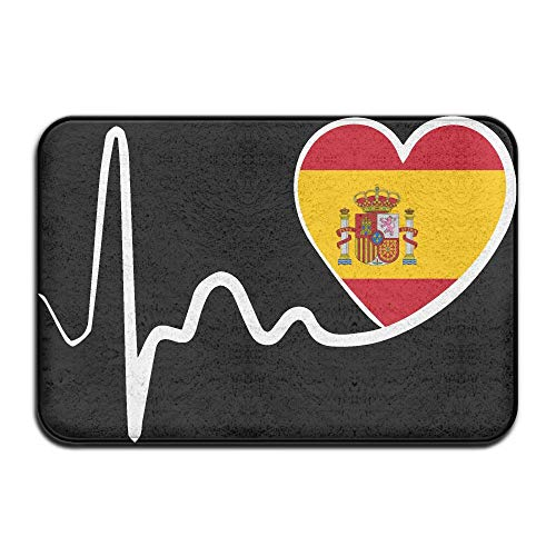 Spain Flag Heartbeat-1 Indoor Outdoor Entrance Rug Non Slip Bath Rugs Doormat Rugs Home by HONMAt-Non