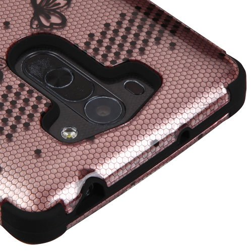 Lg G Vista Vs880   D631 Case  Kaleidio  Tuff  Shockproof Hybrid Dual Layer Protective Cover  Includes A Overbrawn Prying Tool   Rose Gold Lace Flowers