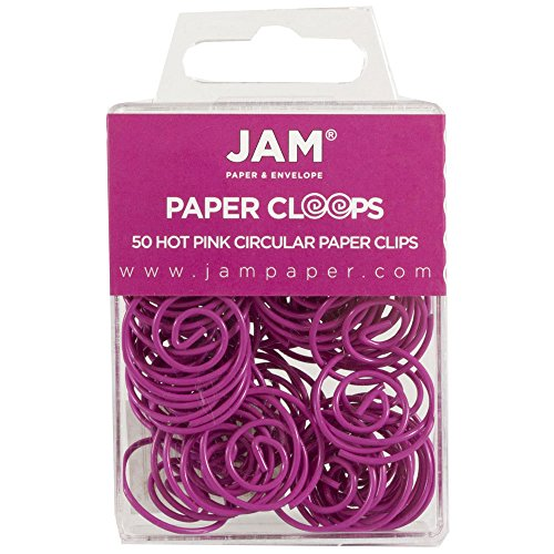 JAM Paper Papercloops - Round Circular Paperclips - Hot Pink Fuchsia - 50/pack