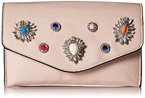 (Steve Madden Crown Non Leather Multi Colored Jewels and Rhinestones Clutch Crossbody, Blush)