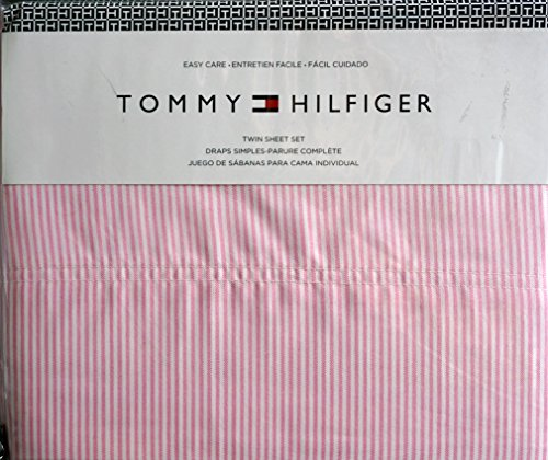 Tommy Hilfiger 3 Piece Twin Size Easy Care Sheet Set Thin Oxford Pink Stripes on White -- Ithaca Stripe ()