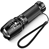 Tactical Flashlight, 800 Lumens BYBLIGHT Zoomable Flashlight, Rechargeable Cree Led Flashlight with AC Charger and 26650 Battery, Bouns Solar Power Keychain Flash Light