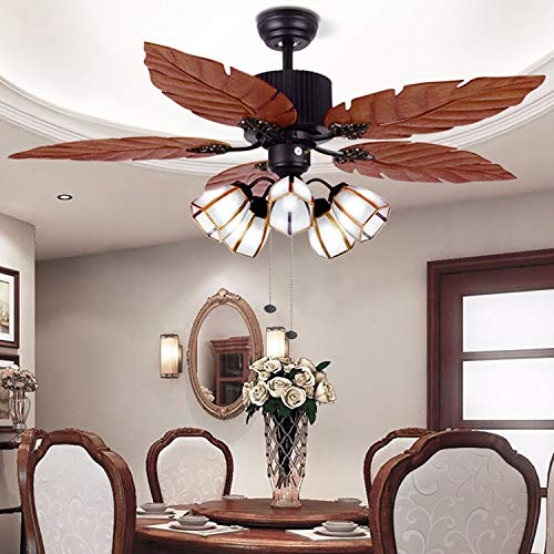 52 Tropical Ceiling Fan with Remote Palm Wooden Leaf Ceiling Fan with 5 Glass Lampshade and Hand-Carved Reversible Blades for Indoor Outdoor Living Room Bedroom Kitchen by Arkonfire