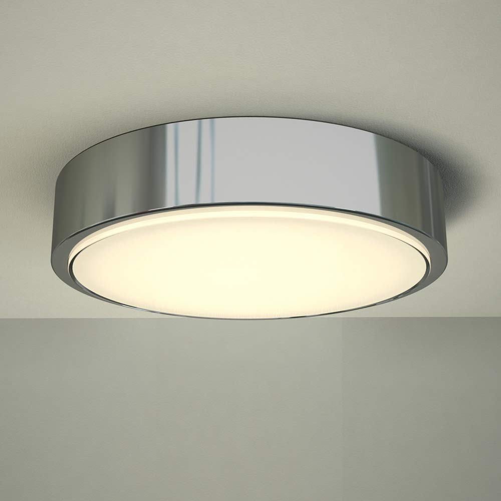 Milano Orchy 18W LED Round Chrome Bathroom Ceiling Bulkhead Light - IP44 Waterproof - Warm White (3000K)