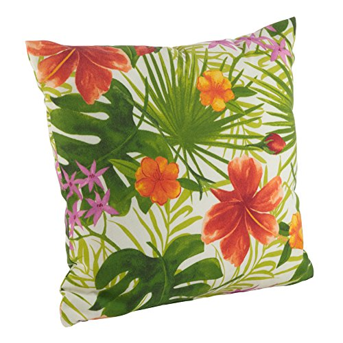 SARO LIFESTYLE 16054.M17S Indoor/Outdoor Tropical Floral Hibiscus Print Poly Filled Throw Pillow, Multi, 17