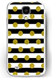 Galaxy S4 Case, Samsung Galaxy S4 Case Slim Fit Hard Back Cover for Galaxy S4 Gold Polka Dots on Black and White Stripes