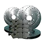 2008 08 2009 09 2010 10 2011 11 Ford F250 SD 2WD (Front+Rear Rotors + Semi-Met Pads)-Cross Drilled