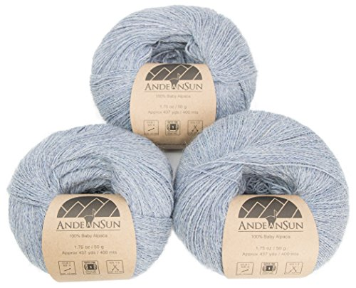 - 100% Baby Alpaca Yarn (Weight #1) LACE - Set of 3 Skeins 150 Grams Total- Luxurious and Caring Soft for Knitting, Crocheting and Any lace Weight Project - Silver Light Blue