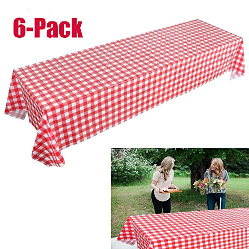 Pack of 6 Checkered Plastic Tablecloths - Picnic Table Covers for Camping - Red and White Checkered Gingham Party -