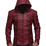 Roy Harper Movie Red Arrow Hooded Arsenal Faux Leather Jacket for Mens Offer