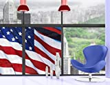 Window Mural Stars and Stripes window sticker window film window tattoo glass sticker window art window décor window decoration Dimensions: 85 x 56.7 inches