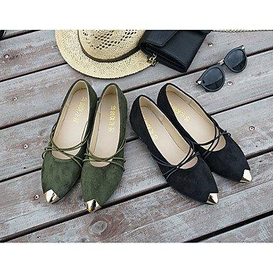Mujer Tacones Verde 2'5 4'5 Tacón Cms Pu Casual Confort ggx Green Bajo Paseo Verano Lvyuan Negro xUBgw5g
