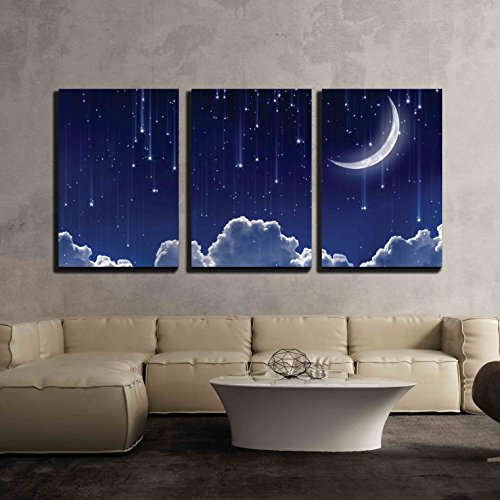 Crescent Moon with Bright Falling Stars Above the Clouds x3 Panels