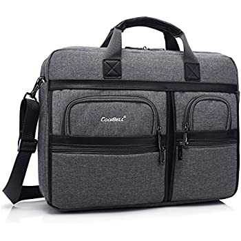 CoolBell 17.3 Inch Laptop Messenger Bag / Durable Business Briefcase / Nylon Shoulder Bag / Multi-functional Hand Bag / For Laptop / Ultrabook / Tablet / Macbook / Dell / HP / Acer / Men/Women (Grey)